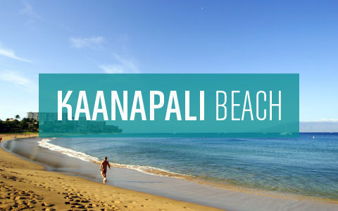 Kaanapali beach text over an image of person walking along shoreline