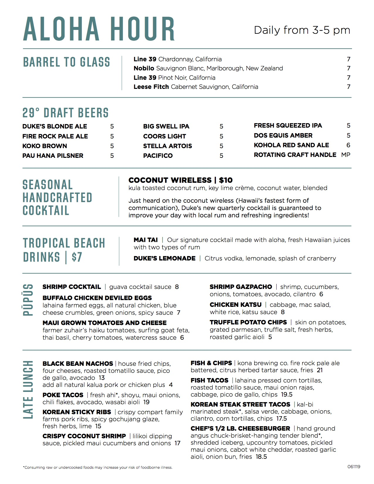 Aloha hour or happy hour menu