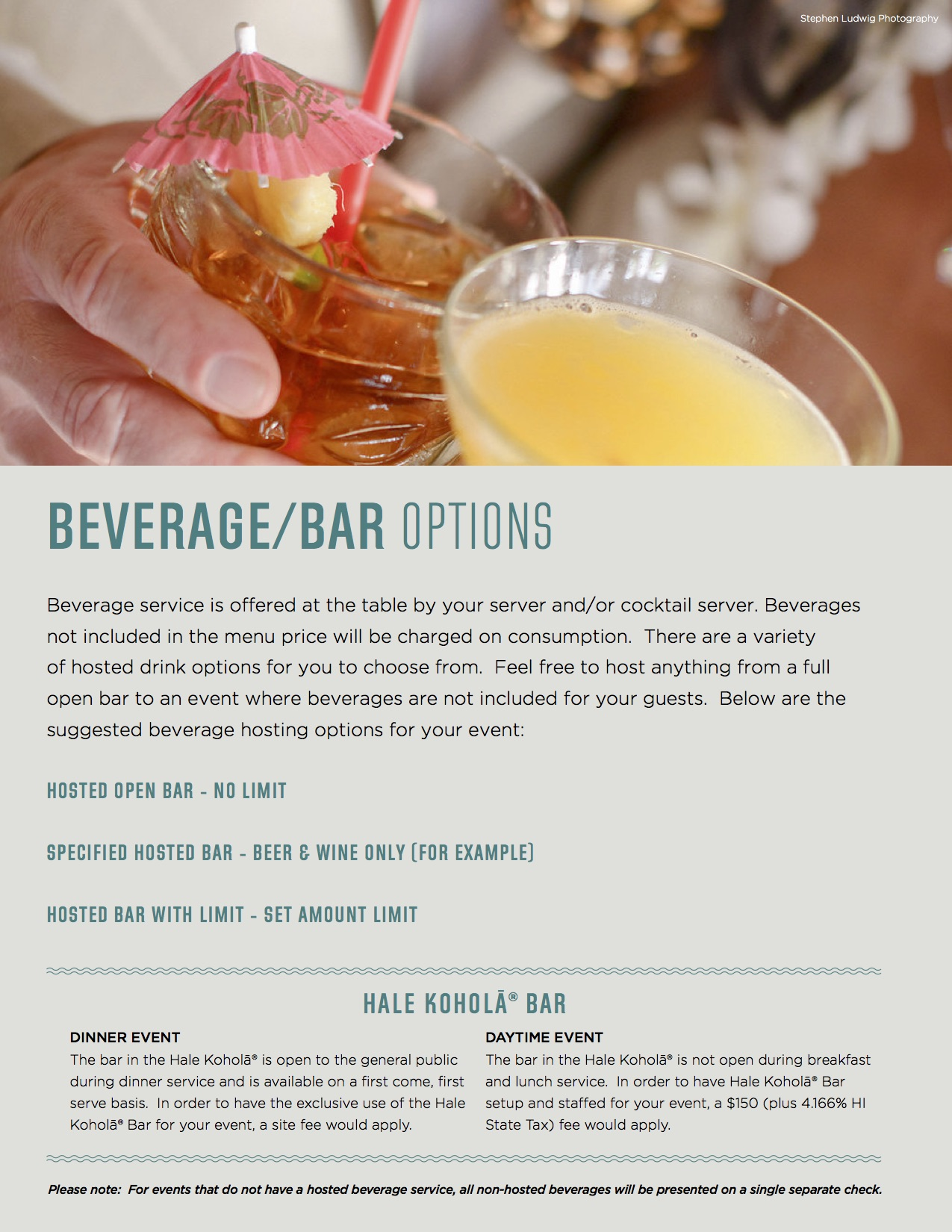 Beverage and bar menu