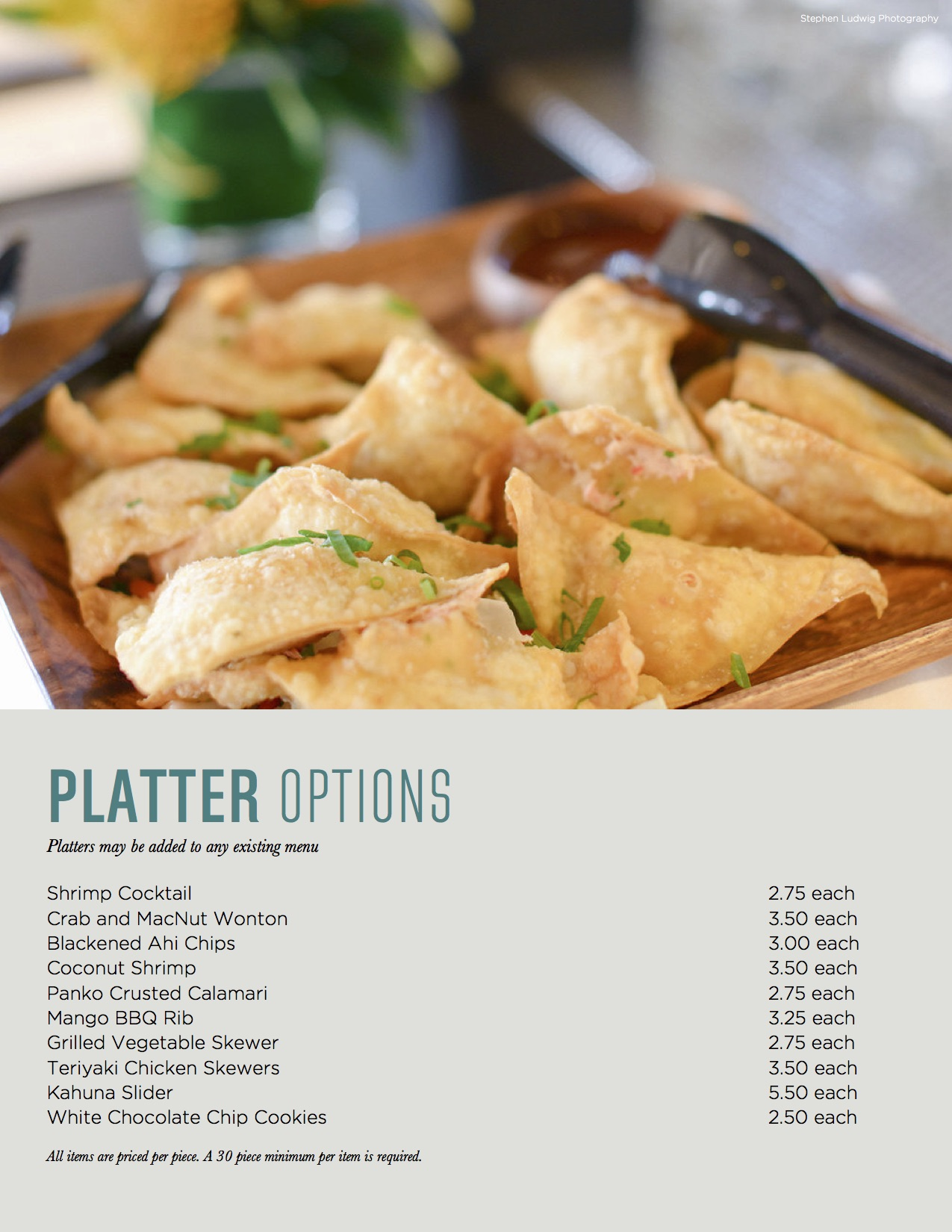 Platter options menu