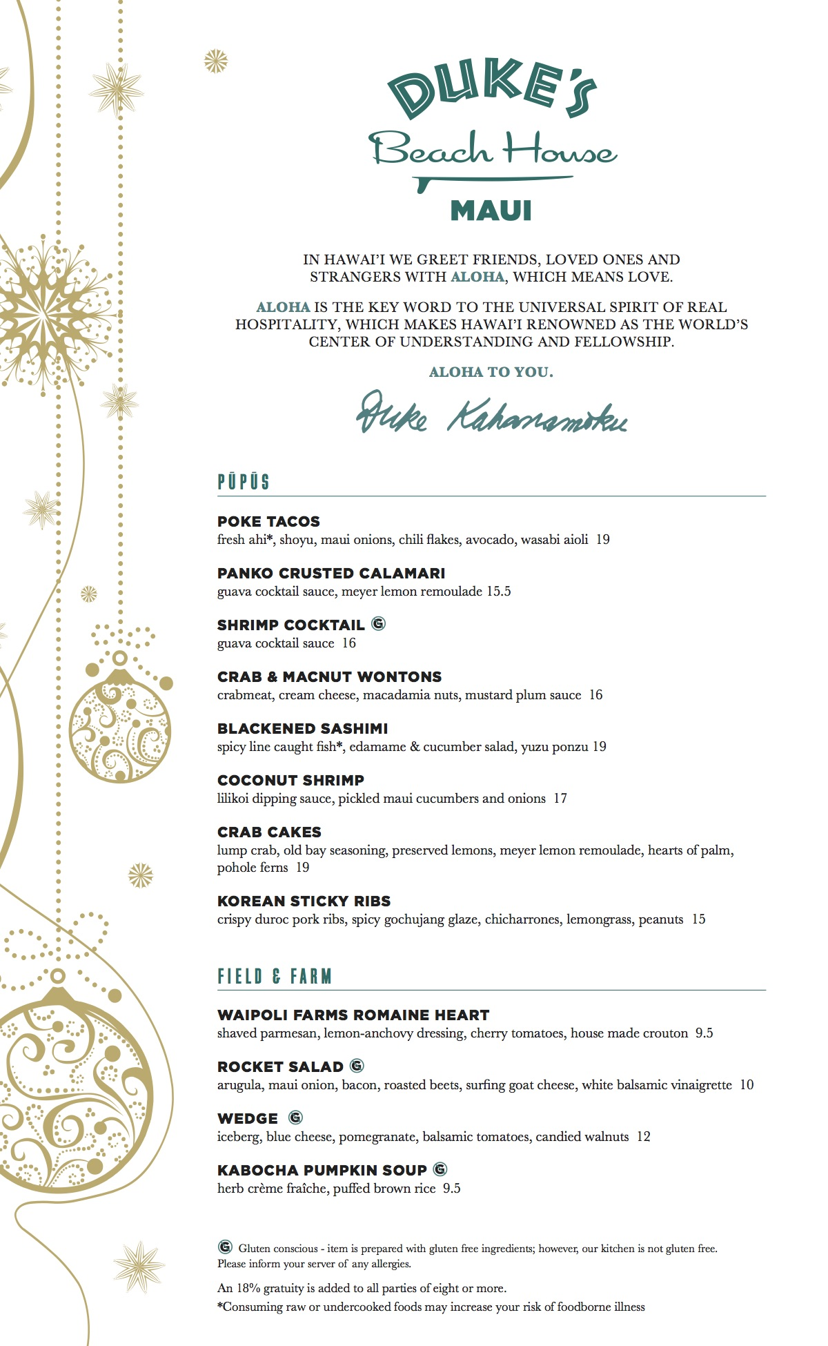 Holiday menu with pupus and field and farm