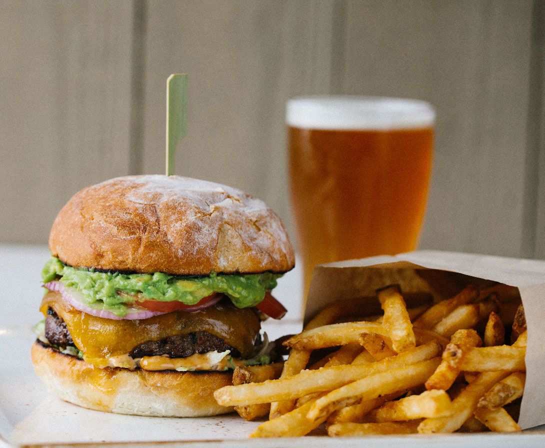 beer burger and fries
